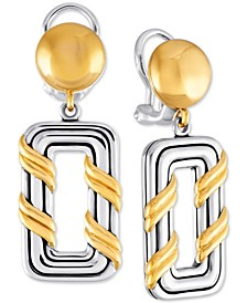 Two-Tone Geometric Drop Earrings in Sterling Silver & Gold-Plate