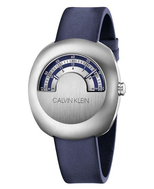 Calvin Klein Unisex Glimpse Blue Leather Strap Watch 42mm