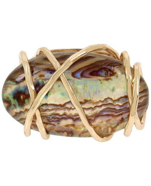 Robert Lee Morris Soho Gold-Tone Wire-Wrapped Stone Ring