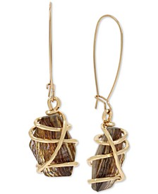 Gold-Tone Wire-Wrapped Stone Drop Earrings