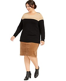 Plus Size Metallic Bi-Color Sweater, Created For Macy's