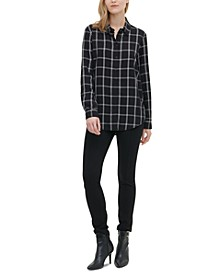 Windowpane-Print Utility Shirt