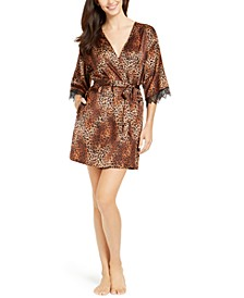I.N.C. Short Lace-Trim Wrap Robe, Created For Macy's 10227688