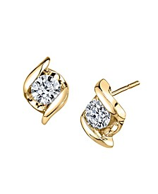 Diamond (1/3 ct. t.w.) Twist Earrings in 14k Yellow Gold