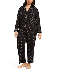 Super Soft Plus Size Printed Top & Pants Pajamas Set, Created For Macy's