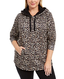 Plus Size Printed Round-Hem Hoodie, Created For Macy's