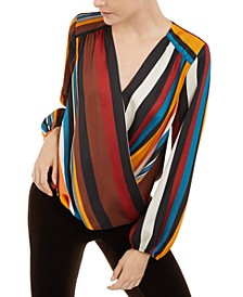 INC Petite Striped Surplice-Neck Top, Created For Macy's