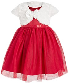 Baby Girls 2-Pc. Faux Fur Shrug & Tulle Dress Set