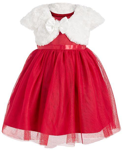 Blueberi Boulevard Baby Girls 2-Pc. Faux Fur Shrug & Tulle Dress Set