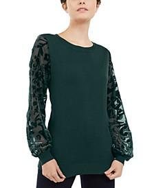 INC Velvet Burnout-Sleeve Sweater, Created for Macy's
