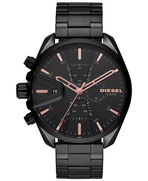 Diesel Men's Chronograph MS9 Black Stainless Steel Bracelet Watch 48mm