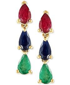Multi Gemstone (1-3/8 ct. t.w.) Drop Earrings in 14k Gold