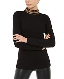 INC Chain-Link Mock-Neck Sweater, Created For Macy's