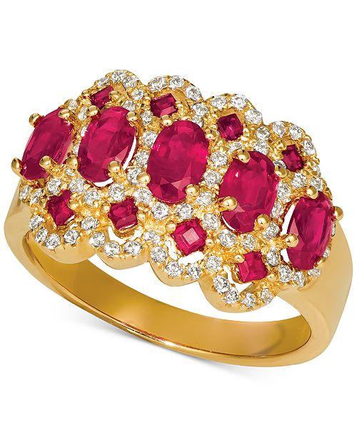 Macy's Certified Ruby (1-3/4 ct. t.w.) & Diamond (1/3 ct. t.w.) Statement Ring in 14k Gold