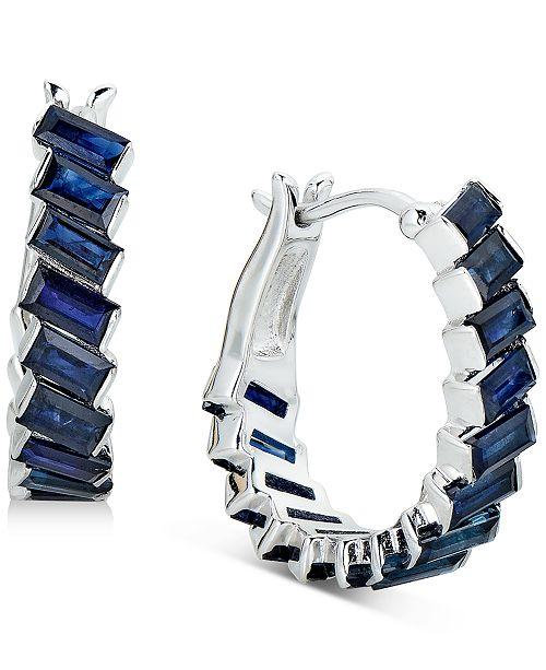 Macy's Sapphire Baguette Hoop Earrings (3 ct. t.w.) in Sterling Silver