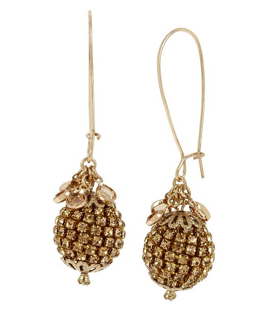MIRIAM HASKELL Stone Fireball Long Drop Earrings