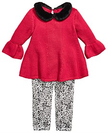 Baby Girls 2-Pc. Sweater Tunic  With Faux-Fur Trim & Printed Leggings Set, Created For Macy's
