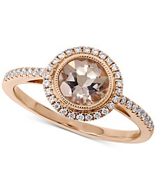 Morganite (7/8 ct. t.w.) & Diamond (1/5 ct. t.w.) Halo Ring in 14k Rose Gold