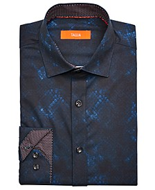 Men's Slim-Fit Performance Stretch Scale-Print Dress Shirt