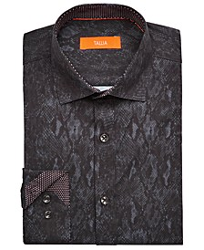 Men's Slim-Fit Performance Stretch Snakeskin-Print Dress Shirt
