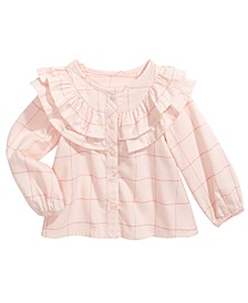 Baby Girls Cotton Ruffle-Trim Windowpane Top, Created For Macy's