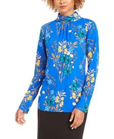 Calvin Klein Floral-Print Mock-Neck Top