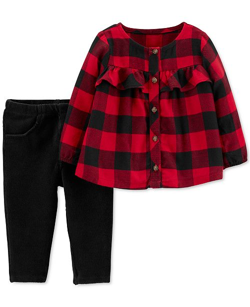 Carter's Baby Girls 2-Pc. Buffalo-Check Top & Velour Pants Set