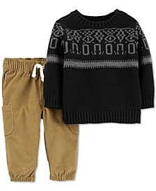 Baby Boys 2-Pc. Knit Sweater & Corduroy Pants Set