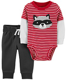 Carter's Baby Boys 2-Pc. Racoon Bodysuit & Jogger Pants Set