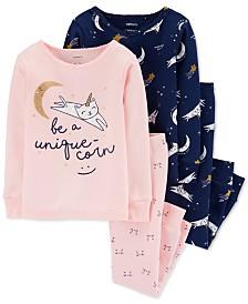 Carter's Baby Girls 4-Pc. Cotton Unicorn Cat Pajamas Set