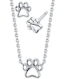 2-Pc. Set Mini Paw Print Pendant Necklace & Stud Earrings in Fine Silver-Plate, Created for Macy's
