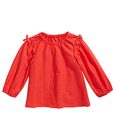 First Impressions Baby Girls Metallic Striped Bow-Trim Top, Created For Macy's