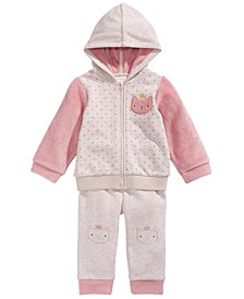 Baby Girls 2-Pc. Dot-Print Minky Cat Hoodie & Pants Set, Created For Macy's