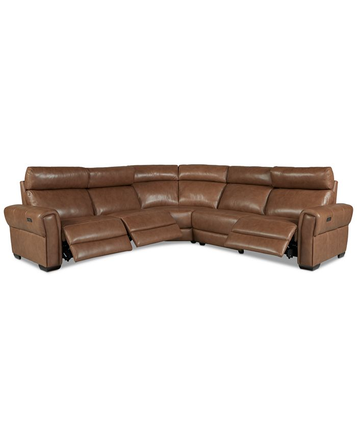 Furniture - Josephia 5-Pc. Leather Sectional with 3 Power Recliners