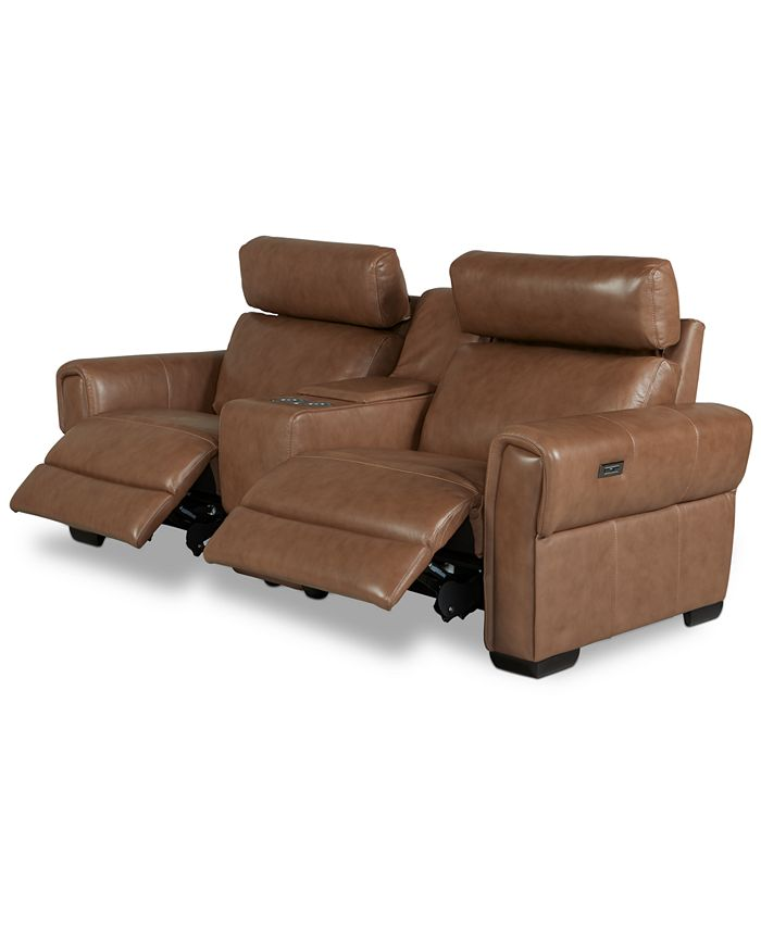 Furniture - Josephia 3-Pc. Leather Sectional with 2 Power Recliners and Console