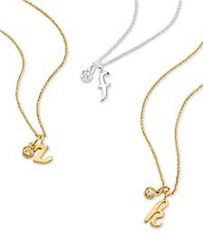 Initial & Cubic Zirconia Charm Pendant Necklaces