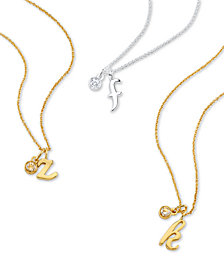 Unwritten Initial & Cubic Zirconia Charm Pendant Necklaces