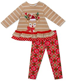 Little Girls 2-Pc. Ruffled Rudolph Top & Printed Leggings Set
