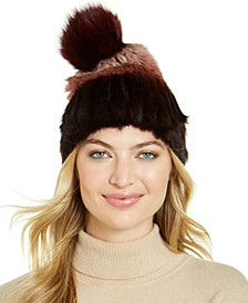 Rabbit Fur Ombré Pom Hat