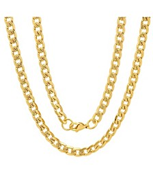 "Men's 18k gold Plated Stainless Steel Accented 8mm Cuban Chain 24"" Necklaces"