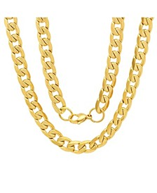 "Men's 18k gold Plated Stainless Steel Accented 10mm Figaro Chain Link 24"" Necklaces"