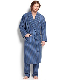 Sleepwear, 100% Cotton Harwich Plaid Woven Robe