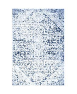 "Patio Sofia Fleur Dark Blue 7'9"" x 10'2"" Area Rug"