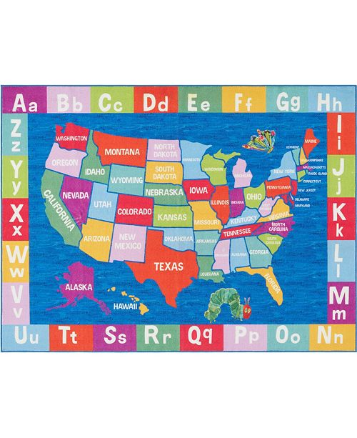 "Eric Carle Elementary USA Map Blue 6'6"" x 9'5"" Area Rug"