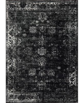 Basha Bas1 Black 7' x 10' Area Rug