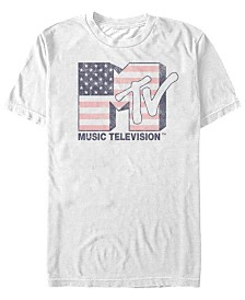 MTV Men's American Flag Logo Short Sleeve T-Shirt