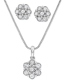 2-Pc. Set Diamond Cluster Pendant Necklace & Matching Stud Earrings (1/2 ct. t.w.) in Sterling Silver