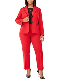Plus Size Blazer, Crossover Top & Straight-Leg Pants