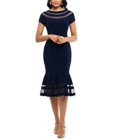 Illusion-Trim Midi Dress