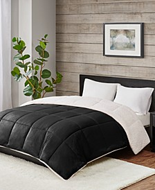 Reversible Micro Velvet and Sherpa Down Alternative Full/Queen Comforter, Hypoallergenic